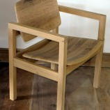 Solid Oak barrel chair angle lr