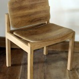 Solid oak barrel side chair angle lr